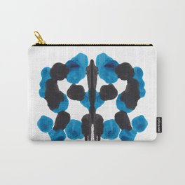 Colorful Blue Turquoise Organic Ink Blot Pattern Carry-All Pouch