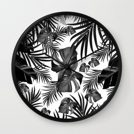 Tropical Jungle Leaves Pattern #10 (2020 Edition) #tropical #decor #art #society6 Wall Clock