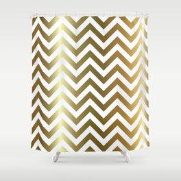 Gold Foil Chevron Pattern Shower Curtain