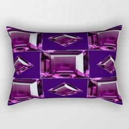 Dark Purple Amethyst  February Birthstone Gems Pattern  Rectangular Pillow