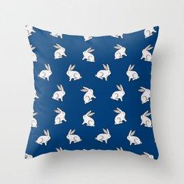 Rabbit pattern in dark blue Throw Pillow