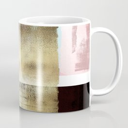 Minimal Abstract Soft Pink Landscape with Gold Coffee Mug