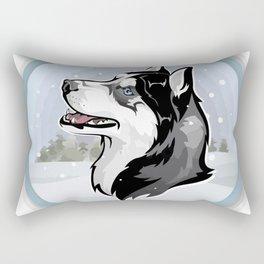 dog in snow Rectangular Pillow