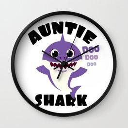 Auntie Shark design Gift - Cute Baby Shark Matching Family Wall Clock