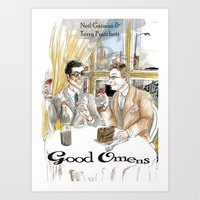 good omens Art Prints featuring Good Omens water colours by Dangerpro