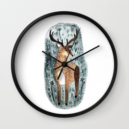 Deer in the woods Wall Clock
