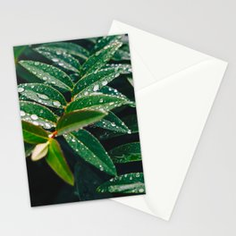 Geometric Wet Leaves Green Plant Stationery Cards
