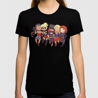 Super BFFs LARGE Black Womens Fitted Tee