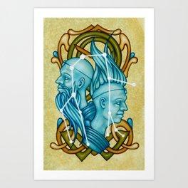 Gemini Twins Castor and Pollux Constellation Art Print