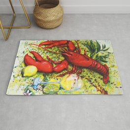 Lobster and Wine Rug