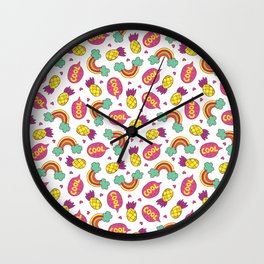 Modern colorful pineapple rainbow cool typography Wall Clock