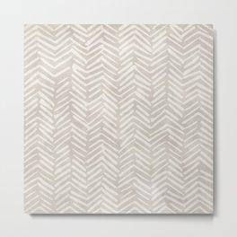Natural, Boho, Herringbone, Mudcloth Metal Print
