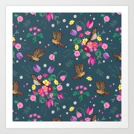 Garden Birds and Spring Flowers on Blue Art Print