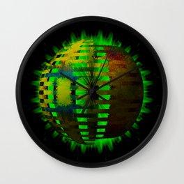 Yellow Layered Star in Green Flames Wall Clock