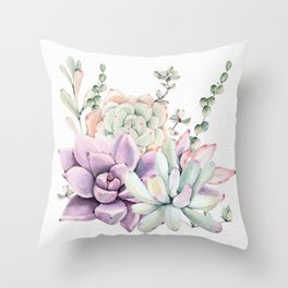 Succulents Sage + Purple Watercolor by Nature Magick Throw Pillow