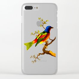 Vintage Bird on a Branch Illustration Clear iPhone Case
