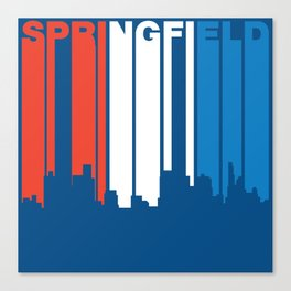 Red White And Blue Springfield Illinois Skyline Canvas Print