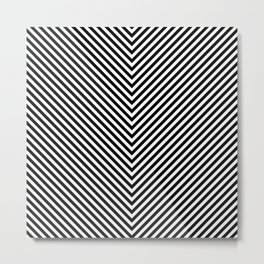 Back and White Lines Minimal Pattern Basic Metal Print