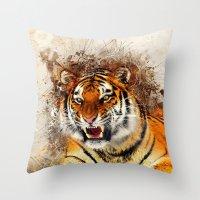 fierce Throw Pillows featuring Fierce by Robin Curtiss