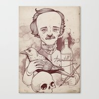 poe Canvas Prints featuring Poe by hatrobot