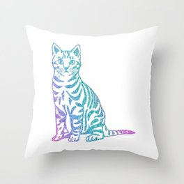 Rainbow Glitter Kitty Throw Pillow