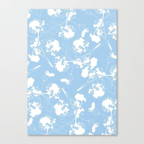 Hydranga pattern  - blue and white Canvas Print