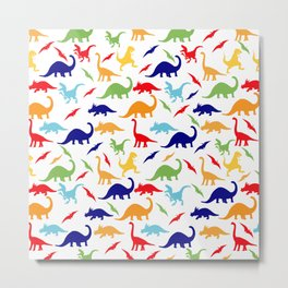 Colorful Dinosaurs Pattern Metal Print