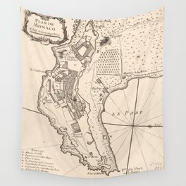 Vintage Map of Monaco France (1764) Wall Tapestry