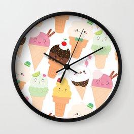 Kawaii Happy Ice Creams Wall Clock