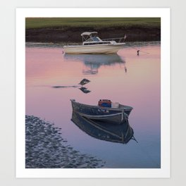 Two boats one seagull Art Print
