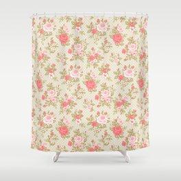 Retro Flowers _ Geraldine - Husk Shower Curtain