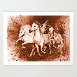 Sepia horses Art Print