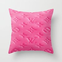 lv Throw Pillows featuring Pink LV by Luxe Glam Decor