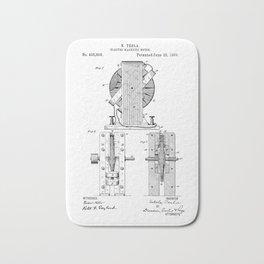 Nikola Tesla Electro Magnetic Motor Patent Art Bath Mat
