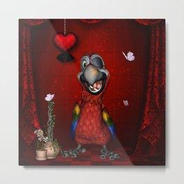 Funny, cute parrot Metal Print