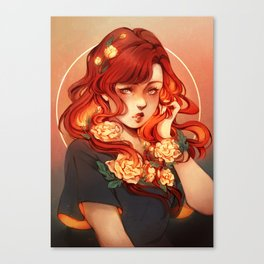 Red hair, White flowers Canvas Print