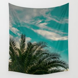 Palms on Turquoise - II Wall Tapestry