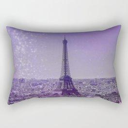 Paris Mon Amour Purple Mixed Media Art Rectangular Pillow