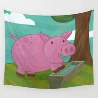 pig Wall Tapestries featuring Pig by Claire Lordon