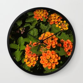 Vibrant Wild Flowers Framed By Lush Leaves Wall Clock