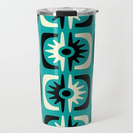 Mid Century Modern Big Bang Pattern Turquoise and Black 2 Travel Mug