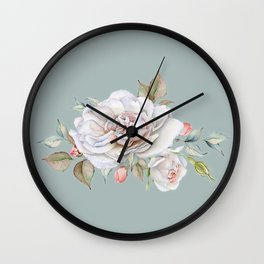 Watercolor White Rose Sprig Wall Clock