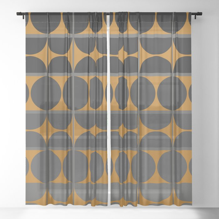 Black and Gray Gradient with Gold Squares and Half Circles Digital Illustration - Artwork Sheer Curtain
