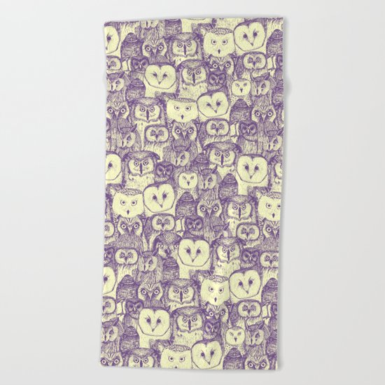 just owls purple cream Beach Towel