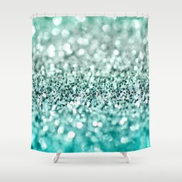 Aqua Glitter Shower Curtain