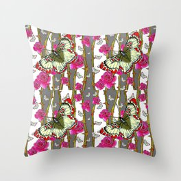 RED-YELLOW  ORIENTAL STYLE BUTTERFLIES & PINK ROSES GREY PATTERN DESIGN FROM SOCIETY6   BY SHARLESAR Throw Pillow