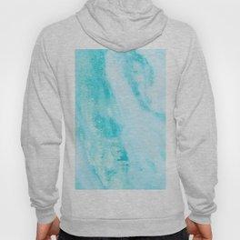 Shimmery Teal Ocean Blue Turquoise Marble Metallic Hoody
