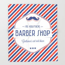 Mr. Moustache Barber Shop Throw Blanket