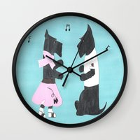 50s Wall Clocks featuring Back to the 50s - Scottish Terriers by Mary Louise Simmons