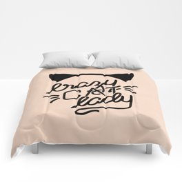 Crazy Cat Lady Calligraphy Lettering with Cat Ears & Whiskers on Pink Comforters